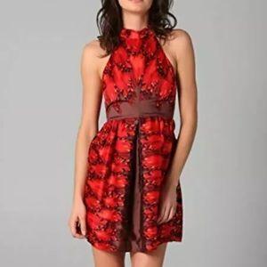 TIBI Pirouette Silk High Neck Cutout Party Dress 2